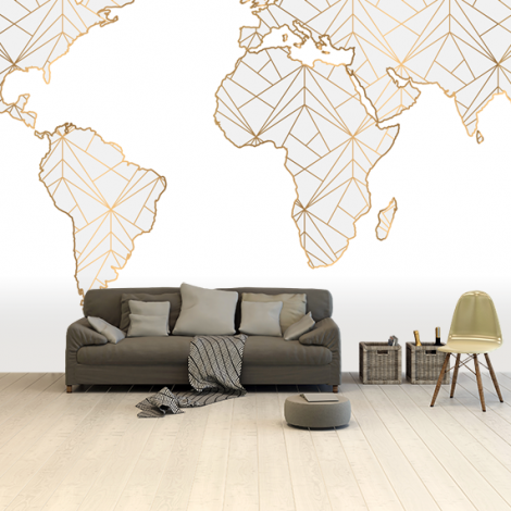 Geometric Gold-Light Grey Wallpaper