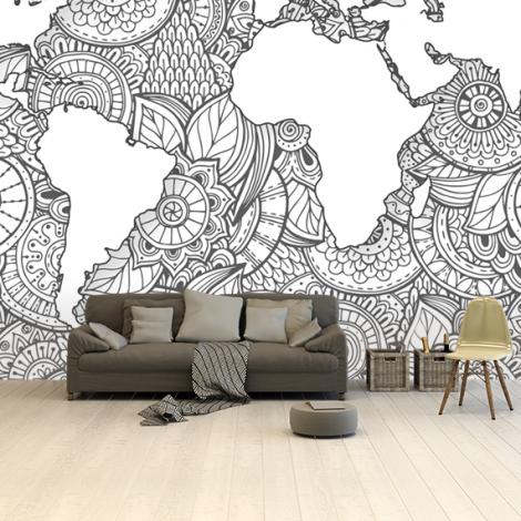 Asian Print Black-White Wallpaper