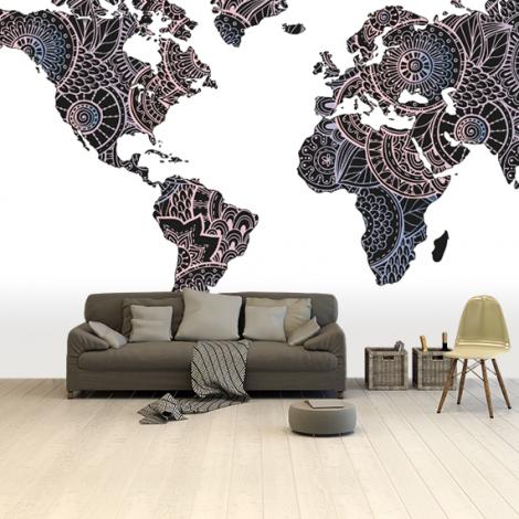 Asian Print Black-Pink Wallpaper