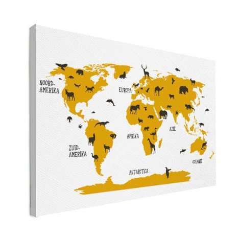 Animals Yellow Canvas