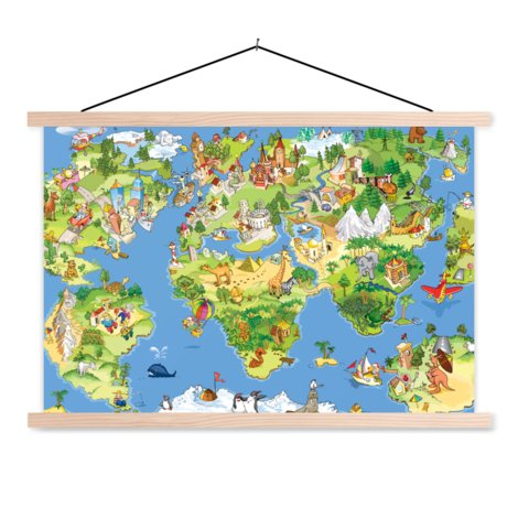 Animals And Buildings Classroom World Map
