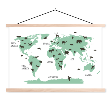 Animals Green Classroom World Map