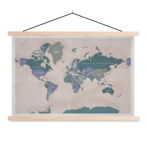 Antique Pink Classroom World Map