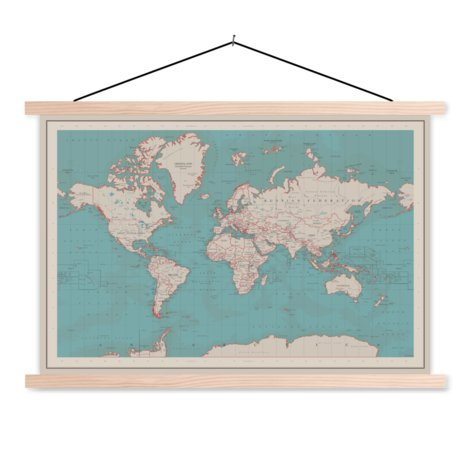 Classroom World Map Old Fabric