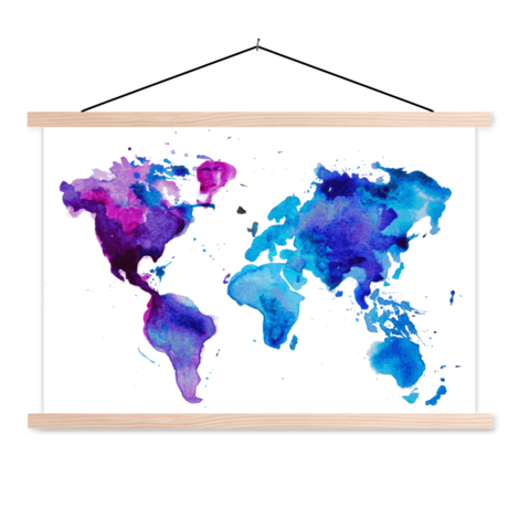 Watercolour Paint Classroom World Map