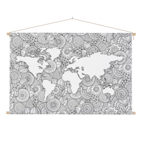 Asian Print Black-White Classroom World Map
