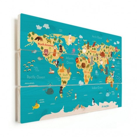 Continents And Oceans Wood