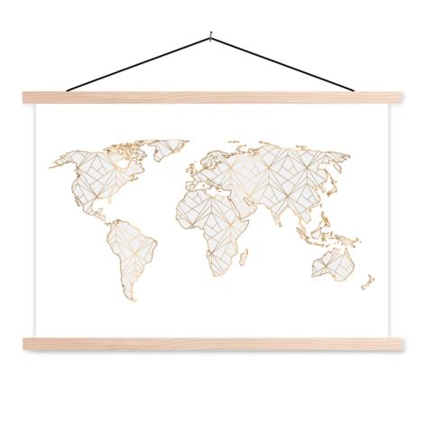 Geometric Gold-Light Grey Classroom World Map