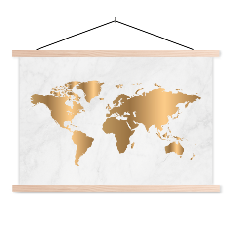 Gold Marble Classroom World Map