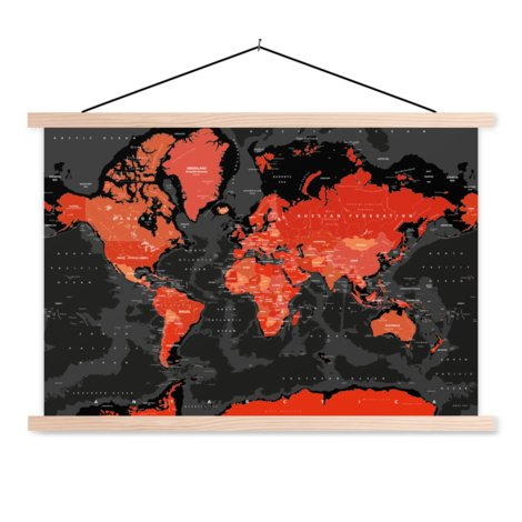 Red - Black Classroom World Map