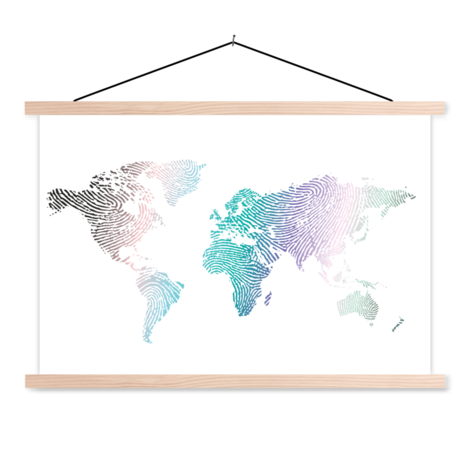 Fingerprint Colour Classroom World Map