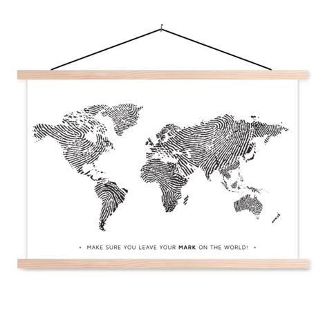 Fingerprint Black-White With Text Classroom World Map