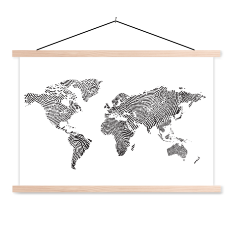 Fingerprint Black-White Classroom World Map