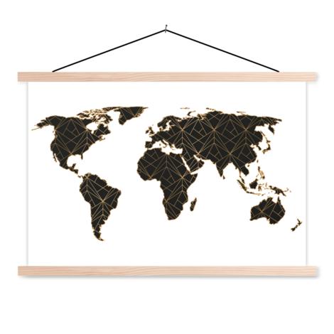 Geometric Black-Gold Classroom World Map