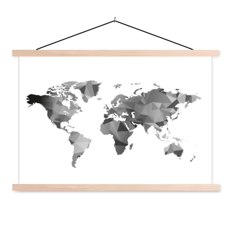 Geometric Black-White Classroom World Map