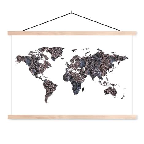 Asian Print Black-Pink Classroom World Map
