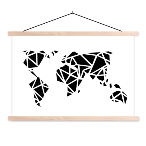 Geometric Black Classroom World Map