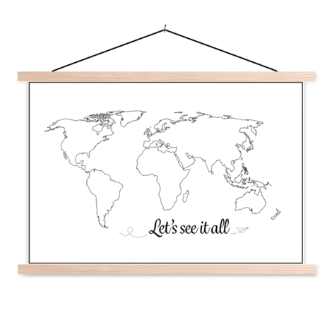 Text See It All Black-White Classroom World Map