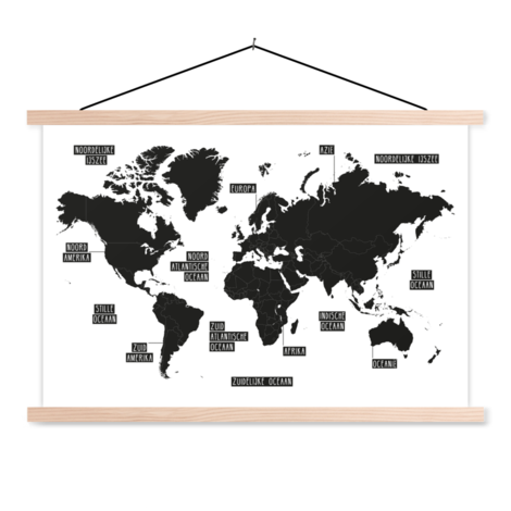 Plain Black-White Classroom World Map