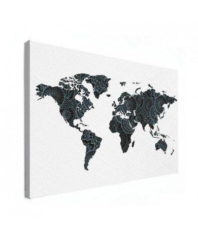 Asian Print Black - Blue Canvas