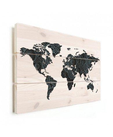 Asian Print Black - Blue Wood
