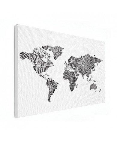 Fingerprint - Black And White Canvas
