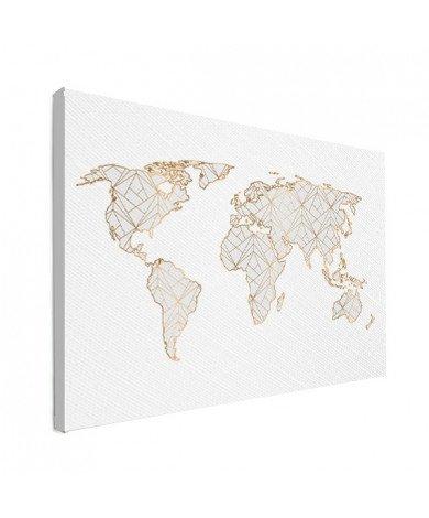 Geometric Gold - Light Grey Canvas