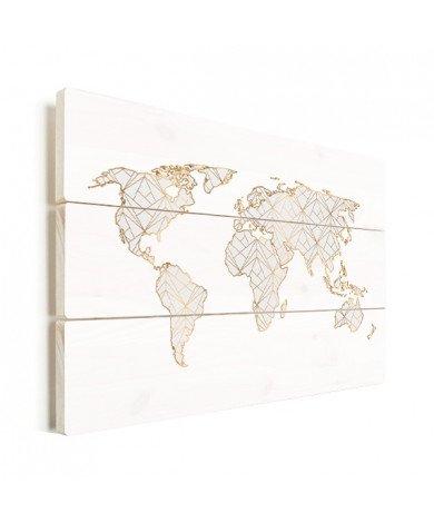 Geometric Gold - Light Grey Wood