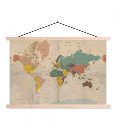 Old Faded Classroom World Map