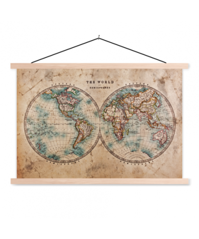 Hemisphere Parchment Classroom World Map