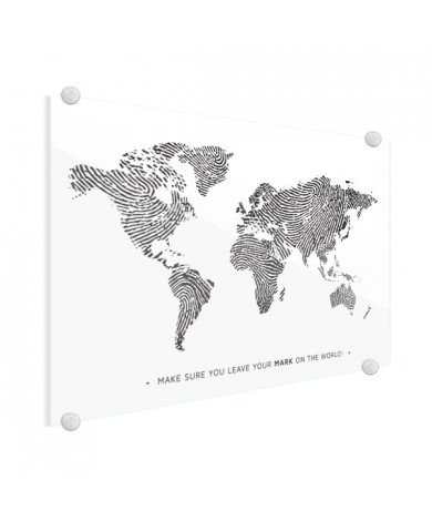 Fingerprint - Black And White With Text Glass