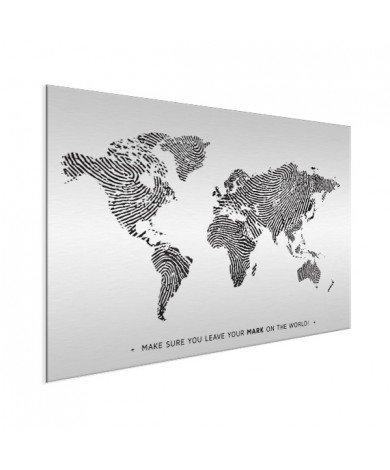 Fingerprint - Black And White With Text Aluminium
