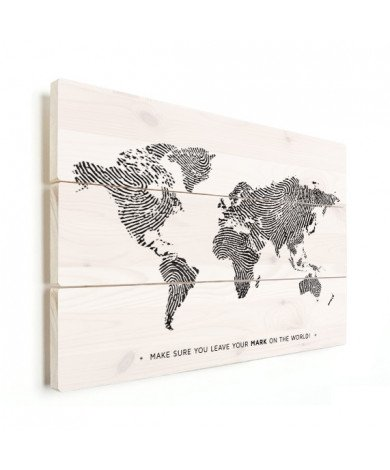 Fingerprint - Black And White With Text Wood