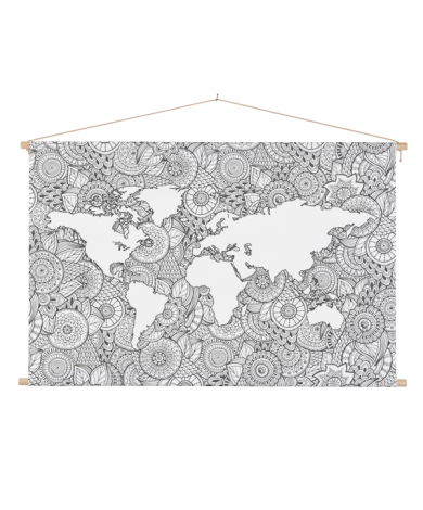 Asian Print Black-White Classroom World Map