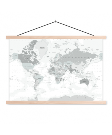 Realistic Shades Of Grey Classroom World Map