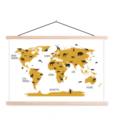 Animals Yellow Classroom World Map