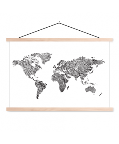Fingerprint Black-White Classroom World Map