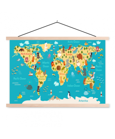 Continents And Oceans Classroom World Map