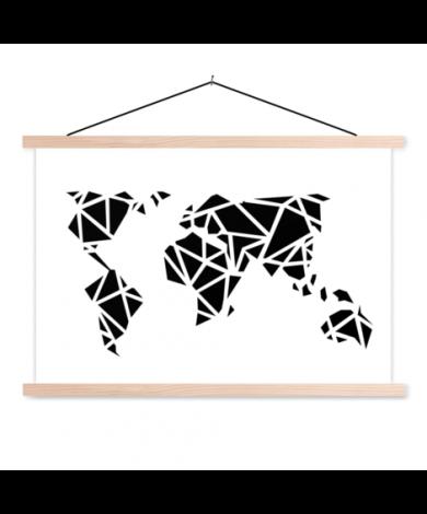 Geometric Black Classroom World Map