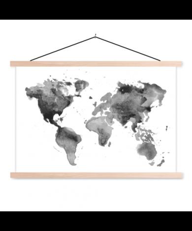 Watercolour Black-White Classroom World Map