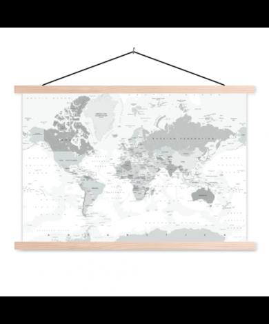 Realistic Shades Of Grey Classroom World Map
