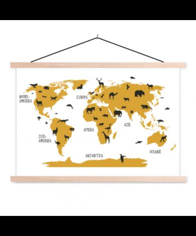 Animals Yellow Classroom World Map