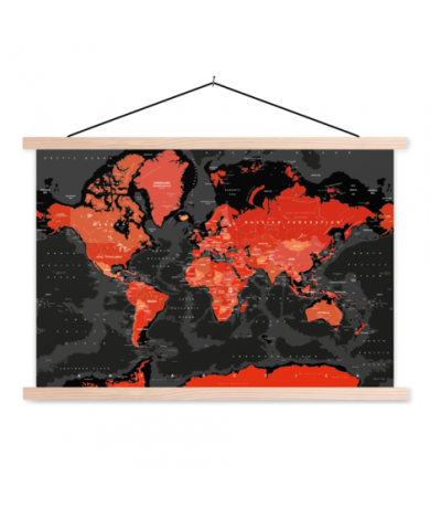 Red - Black Classroom World Map
