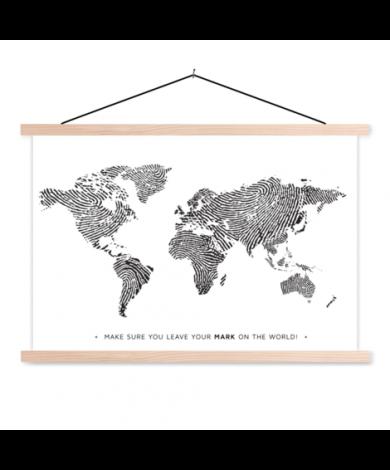 Fingerprint Black-White With Text Classroom World Map