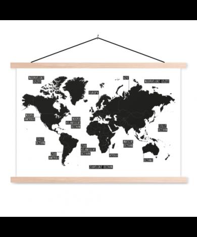 Plain Black-White Classroom World Map