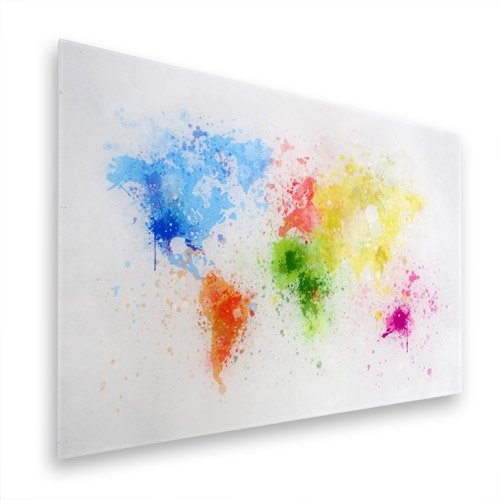 World Map on glas