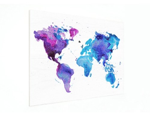 World Map on wood plate
