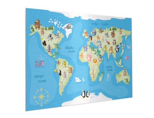worldmap on aluminium for kids