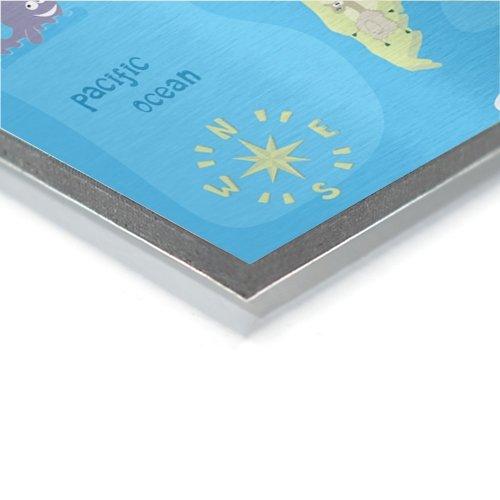worldmap on aluminium for kids in detail