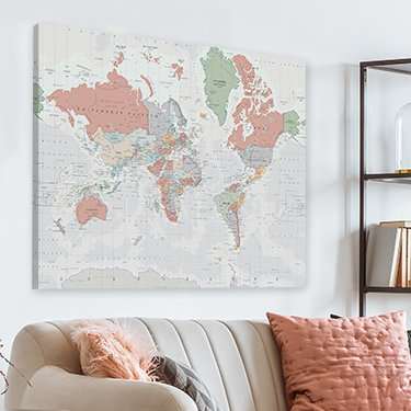 World map on canvas